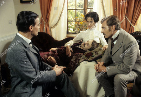 Series 1 Episode 3 - The Naval Treaty Alison Skilbeck as Annie Harrison comforts her fiance, Percy Phelps played by David Gwillim while Sherlock Holmes (Jeremy Brett) and Dr John Watson (David Burke) listen to his story.