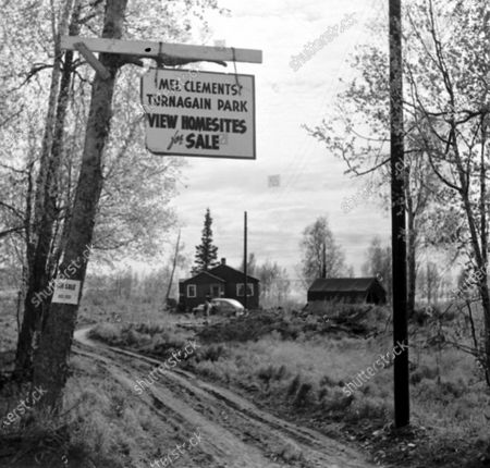 Stock Picture of Mel Clements Turnagain park during its development, Alaska, United States, 1950.