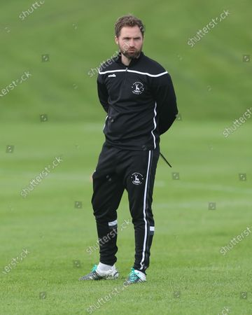 Strength and conditioning coach Jake Simpson during Hartlepool United pre-season training at East Durham College, Peterlee, County Durham, England, on August 27, 2020.