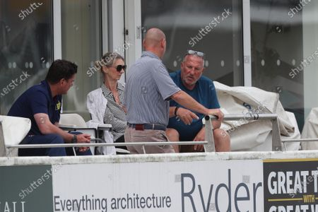 Sir Ian Botham the Chairman of Durham with his wife Kathy, Marcus North, the Durham Director of Cricket (left) and James Whittaker during The Bob Willis Trophy match between Durham and Yorkshire at Emirates Riverside, Chester le Street, England on  3rd August 2020.