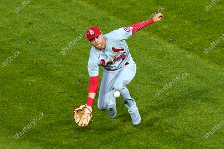 St. Louis Cardinals' Dylan Carlson catches Chicago White Sox's Yoan Moncada's shallow fly ball during the third inning of an interleague baseball game, in Chicago