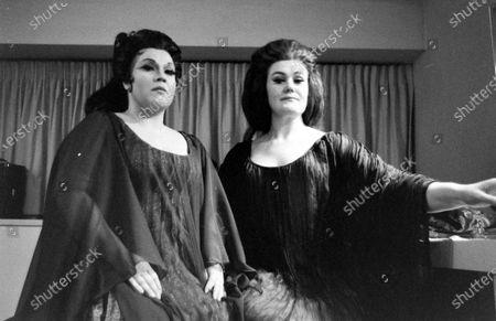 Joan Sutherland (R) and Marilyn Horne (L) preparing backstage at the Metropolitan Opera, New York City, New York, 1970.