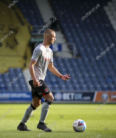 Charlie Barker of Charlton Athletic on the ball during the EFL Trophy match between AFC Wimbledon and Charlton Athletic at The Kiyan Prince Foundation Stadium, London, England, on September 1, 2020.