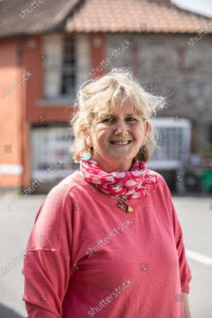Stock Image of Victoria Pryor (daughter of Margaret Rhodes, the Queen's cousin), goddaughter of HRM Queen Elizabeth II, photographed outside her deli  'Picnic Fayre' in Cley Next The Sea