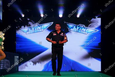 Gary Anderson walks out on stage; Marshall Arena, Milton Keynes, Buckinghamshire, England; Professional Darts Corporation, Unibet Premier League Night 15 Milton Keynes.