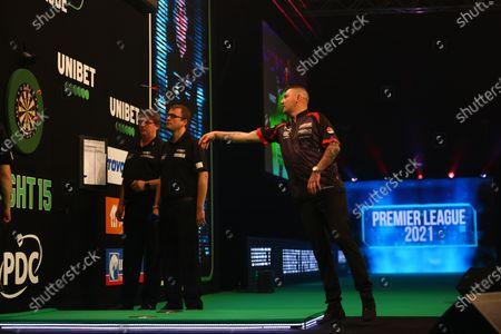 Stock Image of Nathan Aspinall in action against Gary Anderson; Marshall Arena, Milton Keynes, Buckinghamshire, England; Professional Darts Corporation, Unibet Premier League Night 15 Milton Keynes.