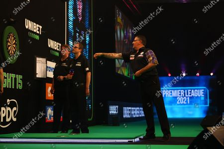 Stock Picture of Gary Anderson in action against Nathan Aspinall; Marshall Arena, Milton Keynes, Buckinghamshire, England; Professional Darts Corporation, Unibet Premier League Night 15 Milton Keynes.