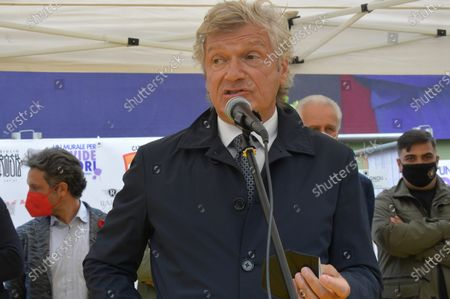 Stock Image of Giancarlo Antognoni former Fiorentina player during the inauguration of the mural dedicated to the former Fiorentina player Davide Astori died of cardiac arrest