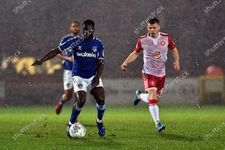 Stock Picture of Christopher Missilou of Oldham Athletic and Jason Cowley of Stevenage during the Sky Bet League 2 match between Stevenage and Oldham Athletic at the Lamex Stadium, Stevenage on Tuesday 14th January 2020.