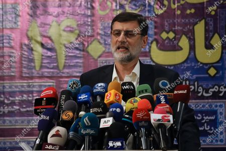 Deputy Parliament Speaker Amir Hossein Ghazizadeh Hashemi speaks to journalists after registering his name as a candidate for the upcoming, presidential elections at the Interior Ministry in Tehran, Iran, . Iran named seven candidates Tuesday, May 15, for its June 18 presidential election, approving the candidacy of Hashemi and hard-line cleric Ebrahim Raisi, while barring former parliament speaker Ali Larijani allied to the country's current president