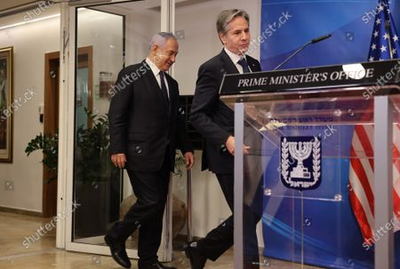 Israeli Prime Minister Benjamin Netanyahu (L) and U.S. Secretary of State Tony Blinken arrive for a joint press conference in Jerusalem on May 25, 2021, days after an Egypt-brokered truce halted fighting between the Jewish state and the Gaza Strip's rulers Hamas.