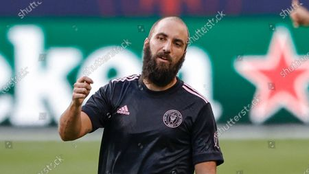 Inter Miami forward Gonzalo Higuain (9) in action against the Chicago Fire during the second half of an MLS soccer match, in Chicago