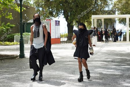 American fashion designer Rick Owens and French culture and fashion figure Michele Lamy attend the 17th Biennale of Architecture pre-opening days