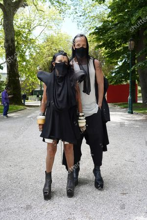 Stock Photo of French culture and fashion figure Michele Lamy and American fashion designer Rick Owens attend the 17th Biennale of Architecture pre-opening days
