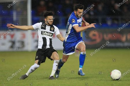 Macauley Southam-Hales  of Hartlepool United in action with Notts County's Dion Kelly-Evans during the Vanarama National League match between Hartlepool United and Notts County at Victoria Park, Hartlepool on Saturday 22nd February 2020.
