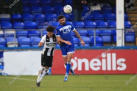 Macauley Southam-Hales  of Hartlepool United contests a header with Notts County's Dion Kelly-Evans during the Vanarama National League match between Hartlepool United and Notts County at Victoria Park, Hartlepool on Saturday 22nd February 2020.