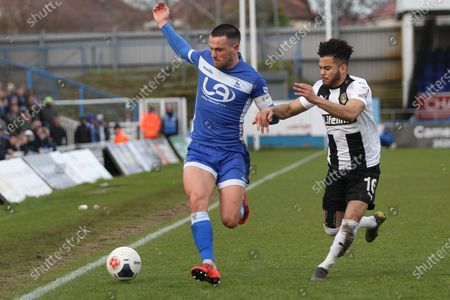 Ryan Donaldson of Hartlepool United in action with Dion Kelly-Evans   during the Vanarama National League match between Hartlepool United and Notts County at Victoria Park, Hartlepool on Saturday 22nd February 2020.