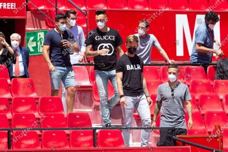 """Marcos Acuna , Lucas Ocampos , Ivan Rakitic and Alejandro Dario """"Papu"""" Gomez during the posing before the press on the grass of the Ramon Sanchez Pizjuan Stadium on May 25, 2021 in Sevilla, Spain."""