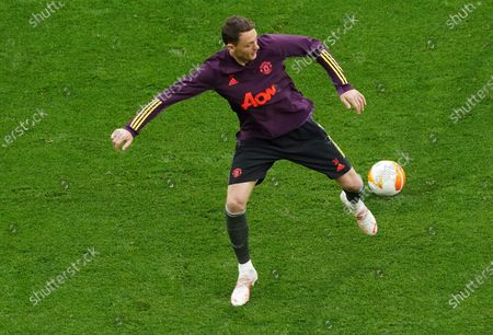 Manchester United's Nemanja Matic controls the ball during a training session in Gdansk, Poland, ahead of the Europa League final soccer match between Manchester United and Villarreal