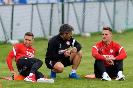 Przemyslaw Frankowski (L) and Arkadiusz Milik (R) during a training session of the Polish national team in Opalenica, Poland, 25 May 2021. Poland is preparing for the UEFA EURO 2020 tournament and will face Spain, Sweden and Slovakia in their Group E stage.