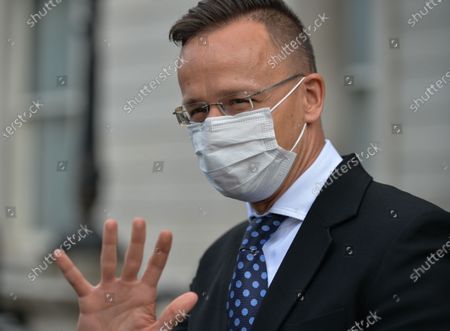 Hungarian Minister of Foreign Affairs Peter Szijjarto leaving the Irish Department of Foreign Affairs during his visit to Dublin. On Tuesday, May 25, 2021, in Dublin, Ireland.