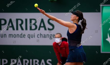 Stock Image of Natalia Vikhlyantseva of Russia in action during the first qualifications round at the 2021 Roland Garros Grand Slam Tournament