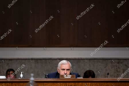 United States Senator Jack Reed (Democrat of Rhode Island), Chairman, US Senate Committee on Armed Services, listens to the witness panel during a Senate Committee on Armed Services nominations hearing in the Dirksen Senate Office Building in Washington, DC,.