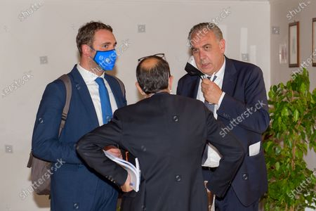 Giovanni Legnini (R) attends a press conference in Rieti, Italy on 25 May 2021.  At a press conference, the Lazio Region kicks off further reconstruction work in the centre of Amatrice, Village destroyed after the 2016 earthquakes.  The conference was attended by the Governor of the Lazio Region Nicola Zingaretti, the Commissioner for the reconstruction Earthquake 2016 Giovanni Legnini, the director of the Lazio Region for the reconstruction Wanda d'Ercole and the Regional Councillor for the reconstruction Earthquake 2016 Claudio di Berardino.