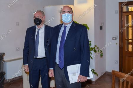 Giovanni Legnini (L) and Nicola Zingaretti attend a press conference in Rieti, Italy on 25 May 2021.  At a press conference, the Lazio Region kicks off further reconstruction work in the centre of Amatrice, Village destroyed after the 2016 earthquakes.  The conference was attended by the Governor of the Lazio Region Nicola Zingaretti, the Commissioner for the reconstruction Earthquake 2016 Giovanni Legnini, the director of the Lazio Region for the reconstruction Wanda d'Ercole and the Regional Councillor for the reconstruction Earthquake 2016 Claudio di Berardino.
