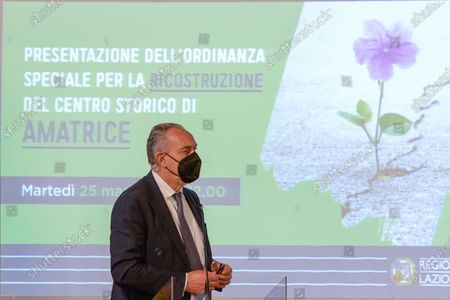 Giovanni Legnini  attends a press conference in Rieti, Italy on 25 May 2021.  At a press conference, the Lazio Region kicks off further reconstruction work in the centre of Amatrice, Village destroyed after the 2016 earthquakes.  The conference was attended by the Governor of the Lazio Region Nicola Zingaretti, the Commissioner for the reconstruction Earthquake 2016 Giovanni Legnini, the director of the Lazio Region for the reconstruction Wanda d'Ercole and the Regional Councillor for the reconstruction Earthquake 2016 Claudio di Berardino.
