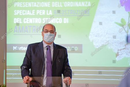 Nicola Zingaretti attends a press conference in Rieti, Italy on 25 May 2021.  At a press conference, the Lazio Region kicks off further reconstruction work in the centre of Amatrice, Village destroyed after the 2016 earthquakes.  The conference was attended by the Governor of the Lazio Region Nicola Zingaretti, the Commissioner for the reconstruction Earthquake 2016 Giovanni Legnini, the director of the Lazio Region for the reconstruction Wanda d'Ercole and the Regional Councillor for the reconstruction Earthquake 2016 Claudio di Berardino.