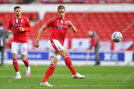 Michael Dawson (20) of Nottingham Forest warms up during the Sky Bet Championship match between Nottingham Forest and Stoke City at the City Ground, Nottingham.
