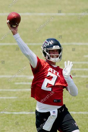 Stock Photo of Atlanta Falcons quarterback Matt Ryan throws during an OTA football practice, in Flowery Branch, Ga