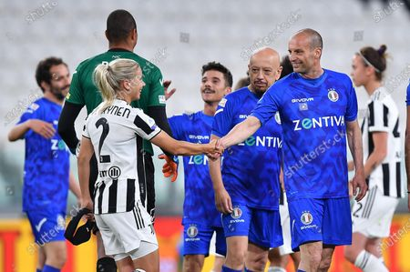 Former Juventus' coach Massimiliano Allegri(R) during the 2021 'Partita del Cuore' (Match of the Heart) charity soccer match between the 'Nazionale Cantanti' (Singers national team) and 'Campioni per la Ricerca' (Research champions) at the Allianz Stadium in Turin, Italy, 25 May 2021.
