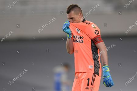 Goalkeeper Franco Armani of Argentina's River Plate reacts during a Copa Libertadores soccer match against Brazil's Fluminense in Buenos Aires, Argentina