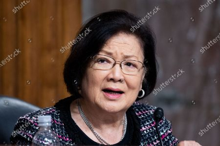 U.S. Senator Mazie Hirono (D-HI) speaks at a hearing of the Senate Armed Services Committee.