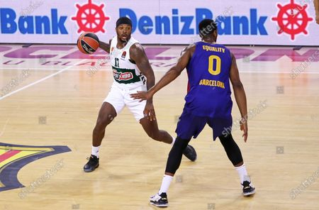 Marcus Foster and Brandon Davies during the match between FC Barcelona and Panathinaikos BC, corresponding to the week 4 of the Euroleague, played at the Palau Blaugrana, on 15th October 2020, in Barcelona, Spain.  --