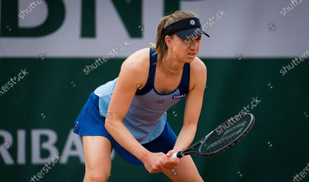 Mona Barthel of Germany in action during the second qualifications round at the 2021 Roland Garros Grand Slam Tournament