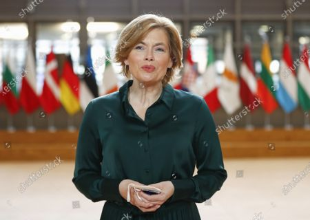 Germany's Minister of Food and Agriculture Julia Klockner speaks with the media as she arrives for a meeting of EU Agriculture Ministers at the European Council building in Brussels