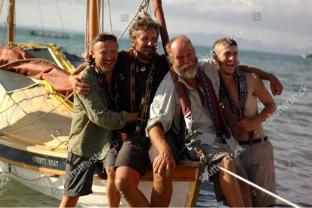 Talisker Bounty Boat crew Dave Wilkinson, Dave Price, Captain Don McIntrye and Chris Wilde complete the first authentic re-enactment of the Mutiny of the Bounty, arriving today in Kupang, West Timor.