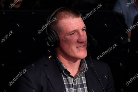 Stock Picture of Paul Gallen commentates ringside for Fox Sports during the Australian Heavyweight Title bout between Justis Huni and Christian Tsoye at the ICC Sydney Theatre, Sydney, Australia, 26 May 2021.