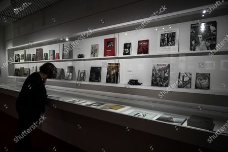 Stock Image of Visit on May 26, 2021 of the great retrospective of the work of French photographer Marc Riboud, who was born in 2016, on the occasion of the legacy of all his work at the Musee National des Arts Asiatiques-Guimet in Paris. The museum pays tribute to him with 300 photographs that trace his career, passing through the Magnum Agency and his life around the world, under the title: Marc Riboud. Possible stories, from May 19, 2021 until September 6, 2021.