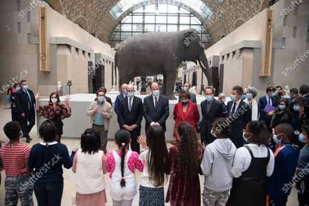 French Education, Youth and Sports Minister Jean-Michel Blanquer, French Prime Minister Jean Castex, French Culture Minister Roselyne Bachelot and Local elected Gilles The Son-in-law, meet children during a visit at the Orsay Museum in Paris on May 25, 2021, in the frame of the reopening strategy of cultural venues, which reopened late May 19 after six months closure due to the Covid-19 pandemic.