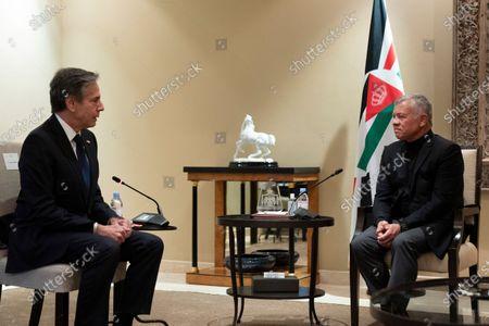 Secretary of State Antony Blinken speaks during a meeting with Jordan's King Abdullah II at Bayt Al Urdon, in Amman, Jordan