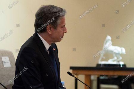 Stock Photo of Secretary of State Antony Blinken listens during a meeting with Jordan's King Abdullah II at Bayt Al Urdon, in Amman, Jordan