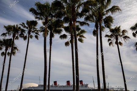Palm Trees in Shoreline Aquatic Park are seen in the foreground, with the Queen Mary ship in the distance, docked in Long Beach, CA, photographed Tuesday, May 25, 2021. The ship has been a tourist destination and hotel for years and is now in danger of capsizing according to a recent inspection report. (Jay L. Clendenin / Los Angeles Times)