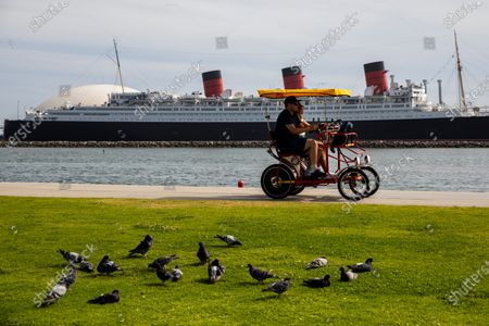 Pigeons and bikers in Shoreline Aquatic Park are seen in the foreground, with the Queen Mary ship in the distance, docked in Long Beach, CA, photographed Tuesday, May 25, 2021. The ship has been a tourist destination and hotel for years and is now in danger of capsizing according to a recent inspection report. (Jay L. Clendenin / Los Angeles Times)
