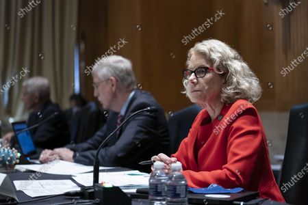 Dr. Diana Bianchi, director of the Eunice Kennedy Shriver National Institute of Child Health and Human Development, listens during a Senate Appropriations Labor, Health and Human Services Subcommittee hearing looking into the budget estimates for National Institute of Health (NIH) and state of medical research on Capitol Hill in Washington, DC.