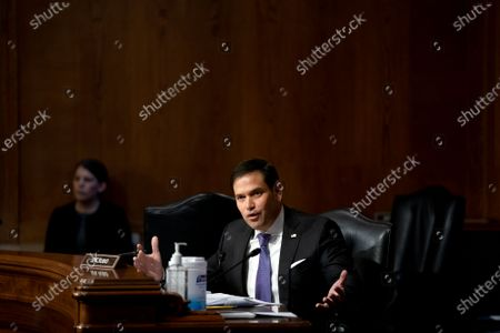"""United States Senator Marco Rubio (Republican of Florida), speaks during a Senate Appropriations Subcommittee hearing in Washington, D.C., U.S.,. The hearing is titled """"National Institutes of Health's FY22 Budget and the State of Medical Research."""""""