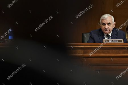 """United States Senator Jack Reed (Democrat of Rhode Island), speaks during a Senate Appropriations Subcommittee hearing in Washington, D.C., U.S.,. The hearing is titled """"National Institutes of Health's FY22 Budget and the State of Medical Research."""""""